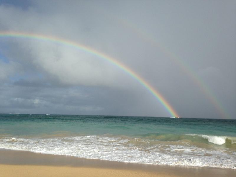 rainbow on Baldwin Beach photo by Maui by the Sea Cottage