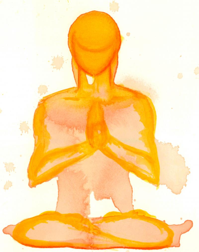 watercolor painting of yoga prayer by artist Kathryn Rone